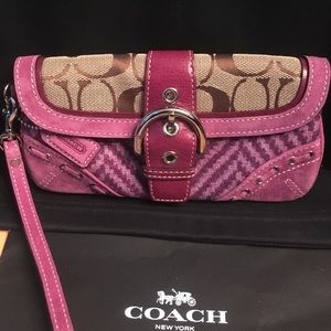 Coach RARE lavender suede wool leather wallet case